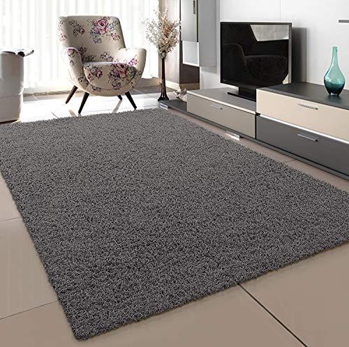 SANAT Teppich Wohnzimmer - Grau Hochflor Langflor Teppiche Modern, Größe: 60x110 cm