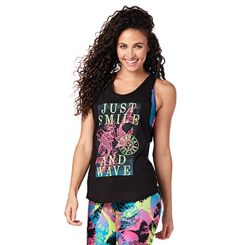 Zumba Athletic Fitness Top Active Loose Dance Workout Muscle Tank Tops für Frauen -  Schwarz -  Groß
