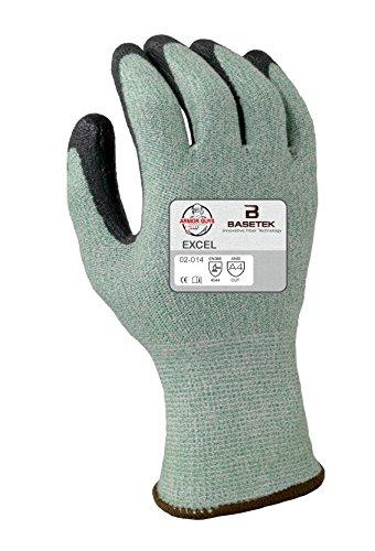 Armor Guys 02-014 (M) 1 Excel, 13 g, Basetek Liner, Black Polyurethane Palm Coating (One Pair), M, Green