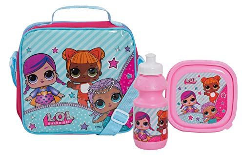 LOL Surprise! Dolls Girls School Lunch Bag Set 3 Pcs - Bolsa con correa para el hombro + caja de sándwich + botella deportiva para bebidas