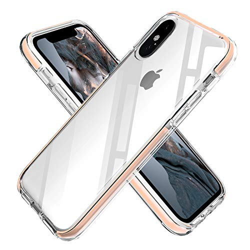 iPhone Xs Max Case Clear Anti-Scratch Anti-Slippery Transparent Shockproof Bumper Protective Case Cover Compatible with iPhone Xs Max 6.5in-2018 (Pink)