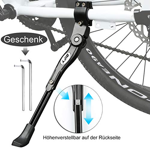 Bify Pata de bicicleta para 24-27pulgadas, cuadro de aleación de aluminio, soporte de goma antideslizante, altura ajustable (blanco), negro