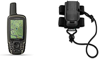 $312 » Garmin GPSMAP 64sx, Handheld GPS with Altimeter and Compass, Preloaded with TopoActive Maps, Black/Tan & Backpack Tether A...