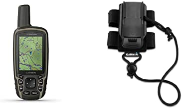 $344 » Garmin GPSMAP 64sx, Handheld GPS with Altimeter and Compass, Preloaded with TopoActive Maps, Black/Tan & Backpack Tether A...