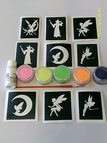 Fee Thema Glitter Tattoo Set inkl. 30 Schablonen + Glitter + Kleber Feen Tinkerbell Fairy Themen Glitzer Tattoo Set