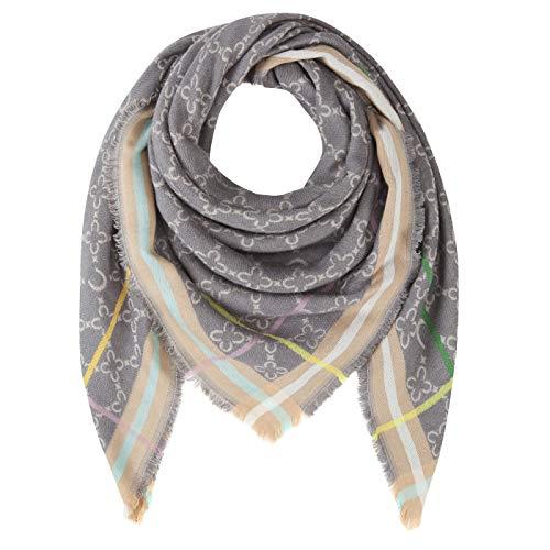 CODELLO Damen Tuch, Halstuch, Angenehm wärmend   Logo-Design   80% Viskose, 20% Wolle   120 x 120 cm