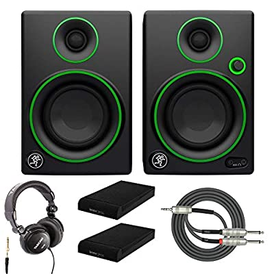 """Mackie CR3 3"""" Multimedia Monitors with Studio Headphones, Breakout Cable and Knox Gear Isolation Pads from Mackie"""