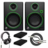 Mackie CR3 3' Multimedia Monitors with Studio Headphones, Breakout Cable and Knox Gear Isolation Pads