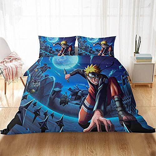 QWAS Naruto - Juego de cama infantil (3 piezas, 1,140 x 210 cm + 80 x 80 cm x 2 cm)