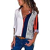 SHOBDW Moda para Mujer Otoño Patchwork de Manga Larga Color botón a Rayas Casual Camisetas Tops Blusa(Blanco,M)