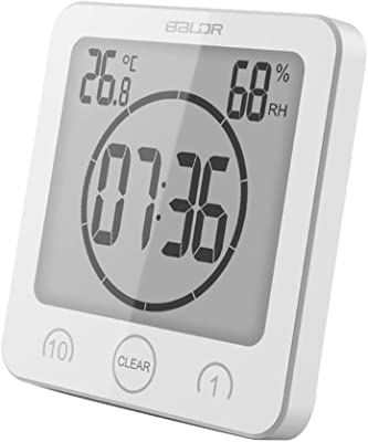 Padory Digital LCD Large Screen Thermometer Hygrometer Timer Wall Clock Alarm Suction (White)
