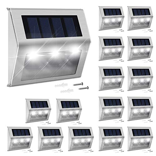 Solar Deck Lights Outdoor 16-Pack JACKYLED Solar Step Lights Stainless Steel Bright 3 LED Solar Powered Stair Lights Dust to Dawn Outdoor Lighting for Steps Stairs Decks Fences Paths Patio Walkway