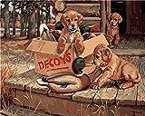 Gofission Paint by Numbers Decoys Dogs Duck Animal, 40,6 x 50,8 cm lienzo DIY número de pintura (animal, sin marco)