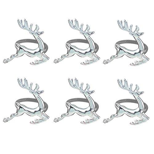 BESTOYARD Lot de 6 Supports de Ronds de Serviette de Noël Elk Cerf Ronds de Serviette Home Décoration de Table pour Noël Mariage Fête de Thanksgiving Usage Quotidien (Silver)