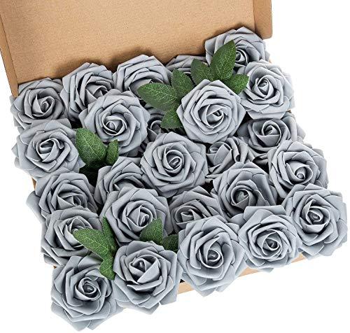 Ruiuzioong Künstliche 25 Stück Rosen Blumen Schaumrosen Foamrosen Kunstblumen Rosenköpfe Gefälschte Kunstrose Rose für Hochzeit Blumensträuße Braut Zuhause Dekoration (Grau, 25 Stück)