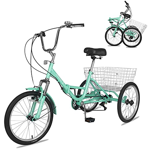 """Adult Folding Tricycle 7-Speed, 20/24/26-Inch Three Wheel Cruiser Bike with Cargo Basket, Foldable Tricycle for Adults, Women, Men, Seniors Exercise Shopping (Green, 20"""" Wheel/ 7-Speed)"""