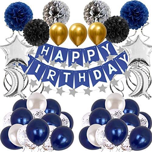 Decoraciones Cumpleaños Hombre Globos Blancos Azul Marino Globos de Papel de Aluminio Azul Plateado Pom Poms Pancarta de Cumpleaños Globos de Confeti Látex para Adultos Hombres Niños