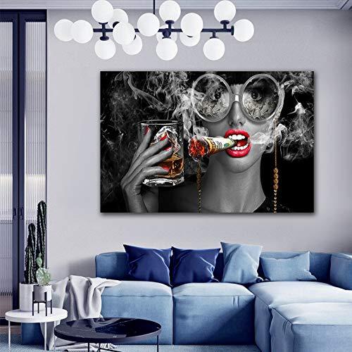Wenqike Moda Belleza Mujer fumadora con Gafas Pintura Carteles escandinavo Cuadro artístico de Pared para Sala de Estar decoración del hogar sin Marco 60x90cm