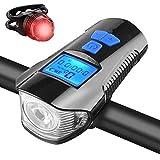 Luz de Bicicleta Recargable USB,KKmoon Impermeable LED Luz Bici Delantera y Trasera con Velocímetro Cuentakilómetros y Bocina de Bici Montaña y Carretera