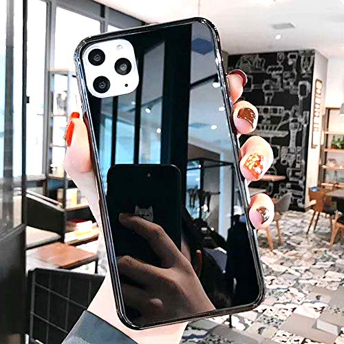 Luxury Fashion Mirror Case for iPhone 11 Case Soft TPU Bumper Frame Shockproof Tempered Glass Back Cover Glitter for iPhone 11 Phone Case for Girls Womens Case (Black)
