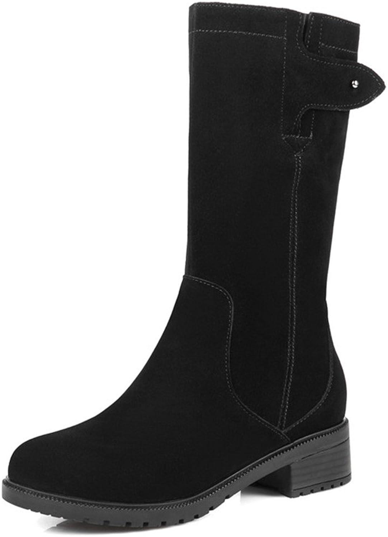 Nine Seven Suede Leather Women's Round Toe Block Heel Casual Handmade Mid Calf Boot