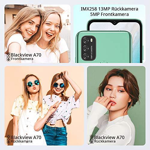 Blackview A70 (E) Smartphone ohne Vertrag Android 11, 6.517 Zoll HD mit 5.380mAh Batterie, 3GB RAM+32GB Speicher Octa-core, 13MP+5MP Kamera, Fingerabdruck Sensor, 4G Handy Dual SIM Grün - 6