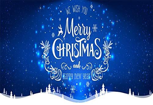 YongFoto 3x2m Fondo de Fotografia Feliz Navidad Feliz año Deseos Noche Estrellada Azul Bokeh Brilla árboles Copos Nieve Renos Telón de Fondo Photo Booth Infantil Party Banner Photo Studio Prop