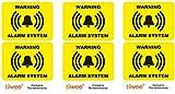 Tiiwee Etiquetas de Alarma de Seguridad para el Hogar - Amarillo - Doble protección UV - Extra laminadas - tamaño 70mm x 50mm - Exterior - Set de 6 etiquetas