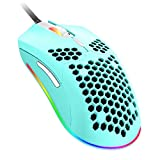 Wired Gaming Mouse, 6 RGB Lighting 6400 DPI Programmable USB Gaming Mice with 7 Buttons, Honeycomb Shell Ergonomic Design for PC Gamers and Xbox and PS4 Users - Green