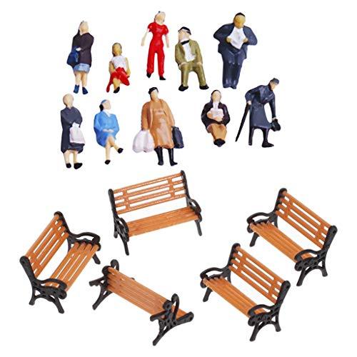 Milageto 29 Stück Eisenbahn Menschen Figuren Straßenlandschaft HO OO Scale Dioramen