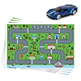 Disposable Stick-on Placemats 40 Pack for Baby & Kids, Restaurant Table Topper Mat Disposable, Toddler Placemats with Car Toy, 12' x 18' Sticky Place Mats Roadmap Design BPA Free