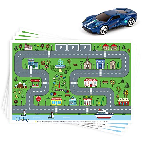 "Disposable Stick-on Placemats 40 Pack for Baby & Kids, Restaurant Table Topper Mat Disposable, Toddler Placemats with Car Toy, 12"" x 18"" Sticky Place Mats Roadmap Design BPA Free…"