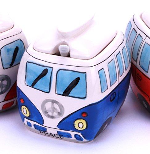 Camper Bus Zuckerdose / Zucker Pott aus Keramik, Farbe wählbar Rot Blau Grün Orange (Blau)