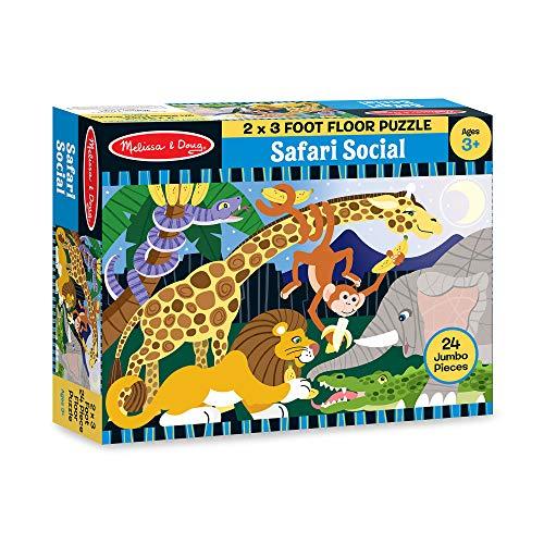 Product Image of the Melissa & Doug Safari Social Jumbo Jigsaw Floor Puzzle (24 pcs, 2 x 3 feet)