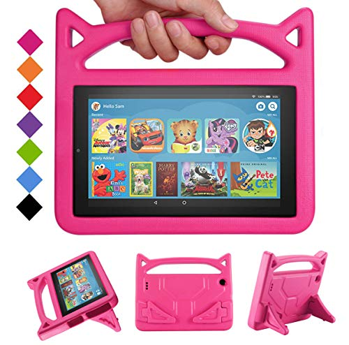 DJ&RPPQ Fire 7 2019 Case,Light Weight Shock Proof Convertible Handle Stand Kids Case for Kindle 7 inch Display Tablet(Compatible with 5th Generation 2015/7th Generation 2017/9th Generation 2019) -Pink