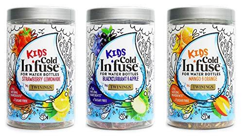 Twinings Kids Cold In'Fuse Selezione di infusioni per acqua, gusto ribes nero e mela, mango e arancia, limonata alla fragola, confezione da 3 pezzi per un totale di 36 bustine