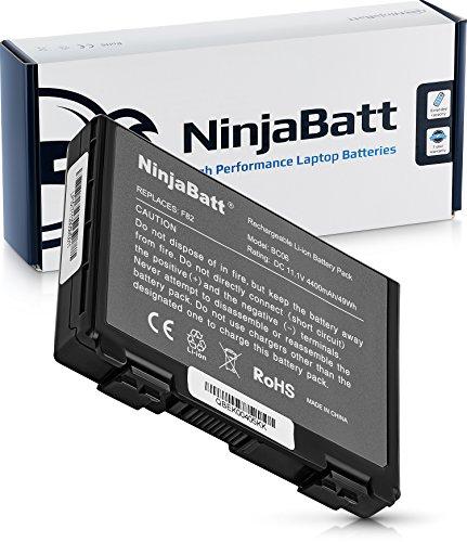 NinjaBatt Laptop-Akku für Asus A32-F82 A32-F52 K50IJ K50AD X50GL AS-K50 P81IJ K60IJ K40 K40IJ K40IN PRO5DIJ K70IC K70IJ X70 X59GL X59SL L0690L6 90-NVD1B1000Y - Hohe Leistung [6 Zellens/4400mAh/49Wh]