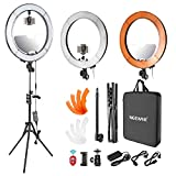 Neewer LED Ring Light 18-inch Outer Diameter with Top/Bottom Dual Hot Shoe, Mirror, Smartphone Holder, Light Stand, Soft Tube, Color Filter for Makeup Facial Beauty Portrait Video Shooting(US Plug)