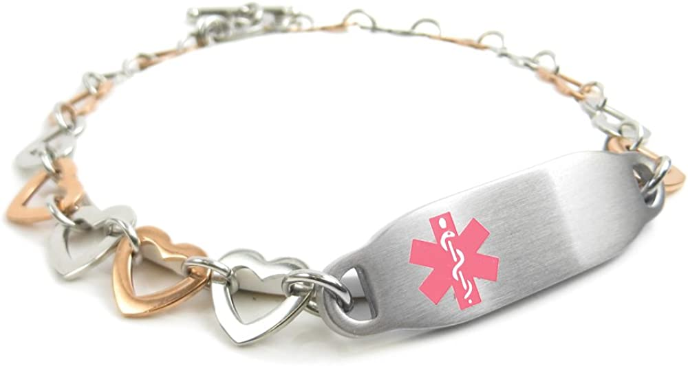 My Identity Doctor - Pre-Engraved & Customizable Bee Sting Allergy Toggle Medical Bracelet, Steel Hearts, Pink