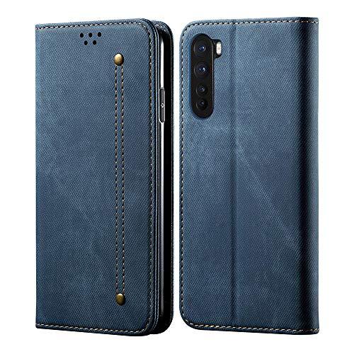 Hongxinyu OnePlus Nord Wallet Case, Denim Folio Flip Leather Magnetic Slim Back Cover Card Holder Slot for OnePlus Nord (Blue)