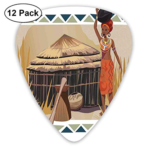 Guitar Picks12pcs Plectrum (0.46mm-0.96mm), Native African Lady Carrying A Pot Traditional Ethnic Savannah Life Artful Graphic,For Your Guitar or Ukulele