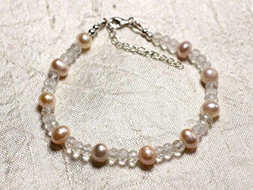 LOVEKUSH Pulsera de perlas cultivadas de cuarzo rosa y blanco de plata de ley 925 de 6 a 7 mm, redonda, facetada y lisa de 7 pulgadas, para hombres, mujeres, gf, bf y adultos.