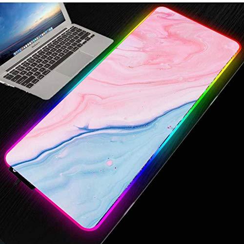 Alfombrilla de ratón para Ordenador portátil Grande con retroiluminación LED arcoíris RGB de mármol Rosa para Juegos, Alfombrilla de ratón Luminosa XXL 800 * 300 * 4mm