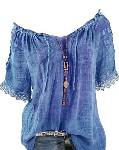 Rolanscia Damen Blusen Tuniken Hemd Bluse Sommer Blusenshirt Festliche Shirts Stickerei Kurzarm Freizeit Lose Blau XL