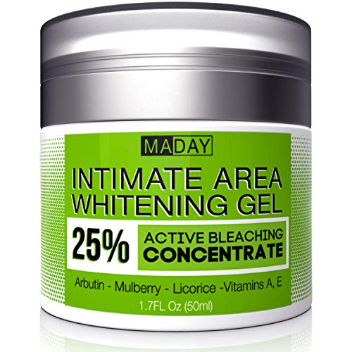 Intimate Whitening Cream - Made in USA Skin Lightening Gel for Body, Face, Bikini and Sensitive Areas - Underarm Bleaching Cream with Mulberry Extract, Arbutin, Licorice Extract - 1.7oz
