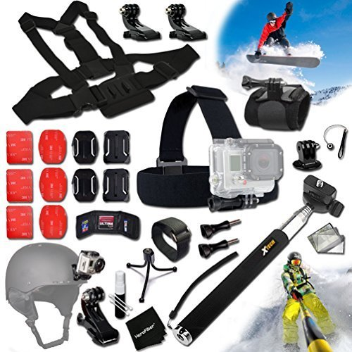 Xtech® SKI / SKIING and Snowboarding ACCESSORIES Kit for GoPro HERO4 SESSION, HERO4, Hero 4 3+ 3 2 1 Hero4 Hero3 Hero2, Hero 4 Silver, Hero 4 Black, Hero 3+ Hero3+ Hero 3 Silver, Hero 3 Black and for Skiing, Ski-Bobbing, Ski Jumping, Snowboarding, Skateboarding, Rollerblading, Skating, Ice Skating, Roller Skating and other Similar Sports Activities Includes: Head Strap Mount + Selfie Stick Monopod Pole + Helmet Harness Mount + Chest Strap Mount + Camera Wrist Mount + MORE