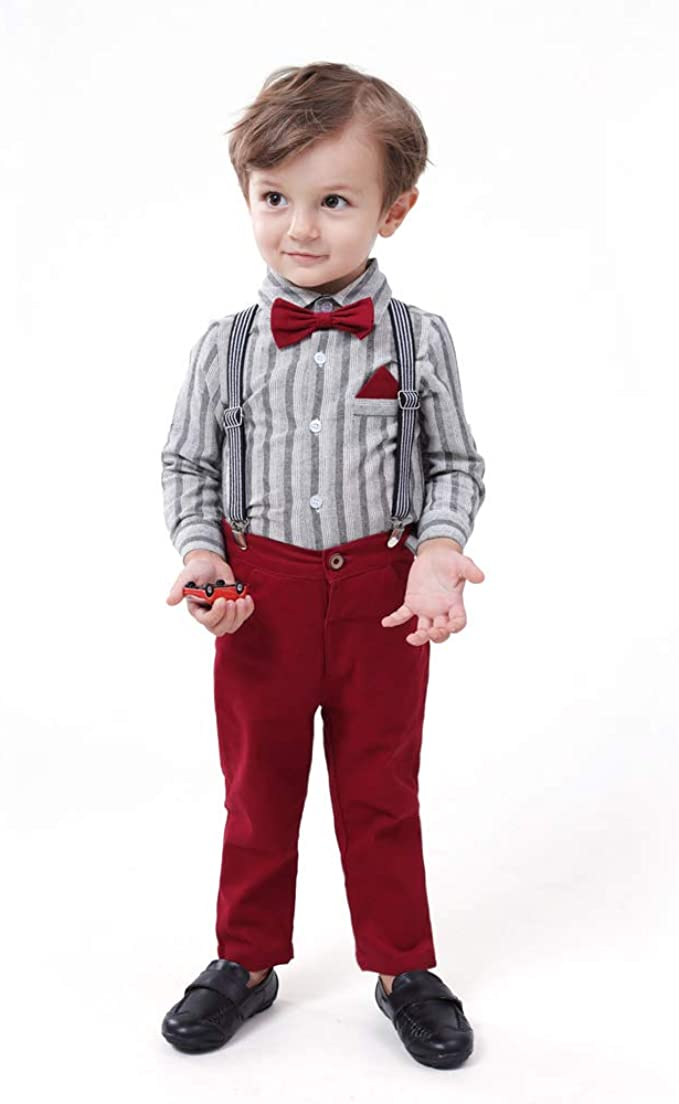 Kids 1950s Clothing & Costumes: Girls, Boys, Toddlers Baby Boys Gentleman Stripe Shirt Bowtie Suspender Pants Outfits Suits Toddlers Christmas Clothes  AT vintagedancer.com