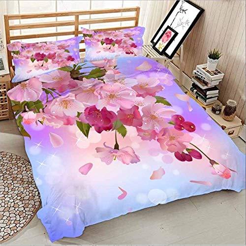 WGLG Double Bed Duvet Sets, 3D Printing Lily Flower Home Textiles Floral Bedding Set Duvet Cover Comforter Sets 3 Piece Set