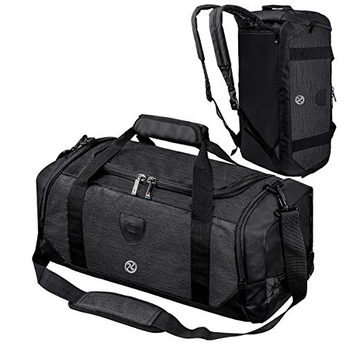 Gym Duffle Bag Backpack Waterproof Sports Duffel Bags Travel Weekender Bag for Men Women Overnight Bag with Shoes Compartment Black-Perfect Fathers Day Gifts for Dad/Men/Husband