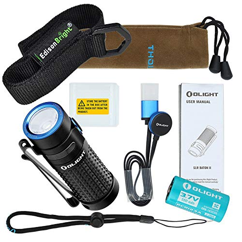 Olight S1R II USB rechargeable 1000 Lumen CREE LED Flashlight, Rechargeable battery with EdisonBright brand holster bundle